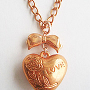 Copper Puffy Heart & Bow Pendant Necklace - Love Valentine Sweetheart Romance