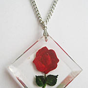 Reverse Carved Lucite Red Rose Flower Pendant Necklace