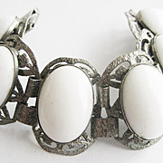Wide Gothic White Glass Oval Cabochon & Silver Metal Bracelet
