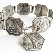 Tour Eiffel Paris France Souvenir Bracelet - Filigrane Depose 1920's Europe
