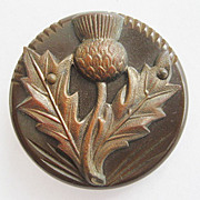Large Carved Bakelite & Celluloid Plastic Decorative Flower Button