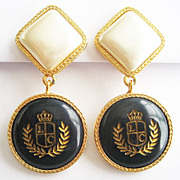 Navy Blue & Faux Pearl Cabochon Coat of Arms Clip Earrings - Signed Liz Claiborne