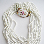 Eight Strand White Glass Bead Necklace with Pink Porcelain Side Clasp