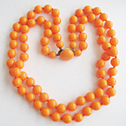 Bright Orange Plastic Bead Two Strand Granny Necklace - West Germany