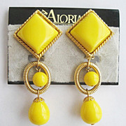 "Bright Yellow 3"" Long Drop 80's Clip Earrings by Aloria on Original Card"