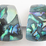 Blue Lucite Chunk & Iridescent Abalone Confetti Clip Earrings