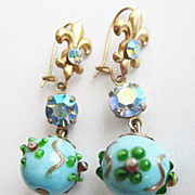 Blue Venetian Glass Wedding Cake Bead Earrings with Rhinestones & Fleur de Lis
