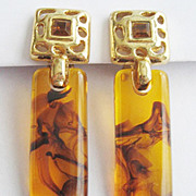 Swirled Applejuice Lucite Plastic & Rhinestone Drop Earrings