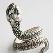 Silvertone Snake Ring with Crystal Rhinestone Head - Size 6