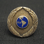 Vintage 1930's Pan American Sterling Enamel Hat Badge