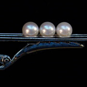 Mikimoto 3 Pearl Sterling Tie Clip in Original BoxLike Peas in a Pod!