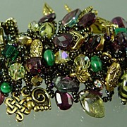 """Garnet Bling"" Gemstone Charm Treasure Bracelet"
