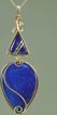 """Happy Blues"" Lapis and Rutilated Quartz Wire-Wrapped Pendant"