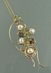 &quot;Freeform&quot; Gold-Filled Wire-Wrapped Labradorite, Cultured Pearl Pendant