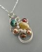 &quot;Swirl of Pearls&quot; Wire-Wrapped Sterling Silver Free-form Pendant