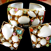 SOLD Huge Chunky Rare Pastel Pink Blue White Milk Glass Rhinestone Clamper Bracelet Set