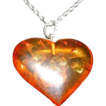 Lovely Vintage Amber Heart Pendant With Sterling Silver Chain Necklace