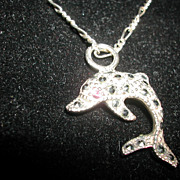 Very Nice Marked 925 Sterling Silver Marcasite Red Rhinestone Eye Dolphin Fish Necklace