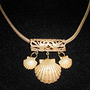 Art Nouveau Design Signed 'Miriam Haskell' Brass beaded Shell Slider Necklace