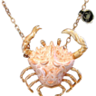 SALE!!!..Chunky Signed 'Razza' Resin Body Crab Rare with Original 'Cancer' Zodiac Tag! Necklace