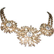 Huge Vintage Signed 'KJL for Avon' Starburst Sun Rhinestone Bib Necklace