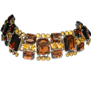 SALE SPRING SALE!!..Chunky Juliana D&E Vintage Amber Emerald Cut Citrine Rhinestone Wide Brace