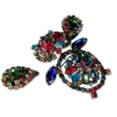 So RARE!!...Vintage Unsigned 'Schreiner of New York' Fuchsia Blue Rhinestone Owl Trembler Pin Earrings Set/Demi