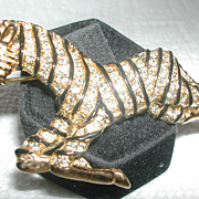 SOLD Large Vintage Designer #D 20717  Rhinestone Black Enamel Striped Zebra Horse Pin