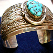 Chunky Vintage Signed 'Sterling .925 Les Craig' In Claw Mark Blue Turquoise Etched Cuff Bracel