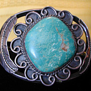 Wide Chunky Vintage Signed 'T' American Indian Navajo Green Turquoise Sterling Cuff Bracelet