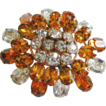 Lovely Early Vintage Unsigned 'Schreiner' Citrine Clear Rhinestone Raised Pin