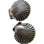 Beau or Beaucraft shell screw sterling silver earrings, between 1950-60, Providence RI
