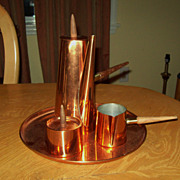 Vintage Mid Century Modern Space Age Copper Teak Coffee Tea set