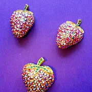 Ballet Red Aurora Borealis Strawberry Brooch and Earrings - Yummy