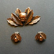 Copper Demi Parure:  Brooch & Earrings  -  Unique Shape