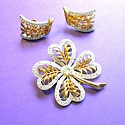 J.J. 4 Leaf Clover Brooch & Earrings