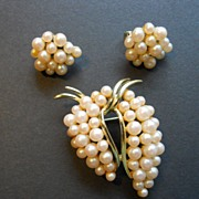 Faux Pearl Brooch & Earrings