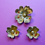 Flower Power Brooch & Earrings
