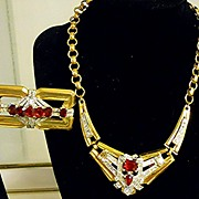 McClelland Barclay Art Deco Style Ruby Rhinestone Necklace & Brooch