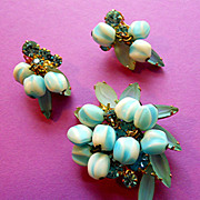 Powder Blue Rhinestone & Glass Bead Brooch and Earrings