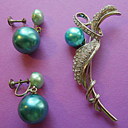 Teal Bead & Rhinestone Brooch and Earrings
