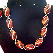 CORO Faux Amber Necklace & Earrings