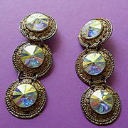 Beautiful Large Aurora Borealis  Rhinestone Earrings