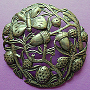 Intricate Acorn and Butterfly Sterling Brooch