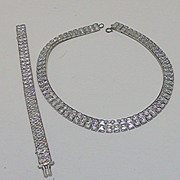 Channel Set Rhinestone Necklace and Bracelet
