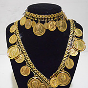 Miriam Haskell  Russian Coin Necklace & Bracelet