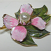 Gorgeous Vendome Enamel & Faux Pearl Brooch