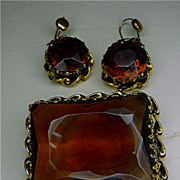 Chunky Amber Rhinestone Brooch and Earrings - Austria
