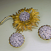 DeNicola Flower Brooch and Earrings