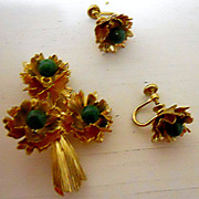14 K GF and Jade Brooch and Earrings